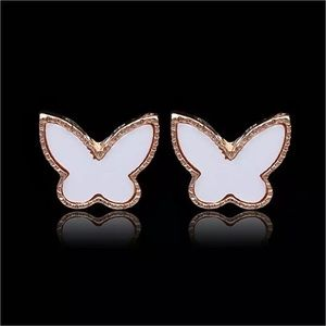 🔆3/$30 New White Enamel Butterfly Earrings
